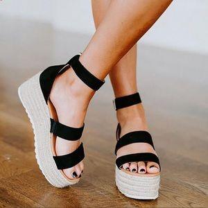 Black Espadrille Wedge sandal